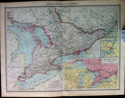 Maps of UPPER CANADA and Central Canada, Color c1906 Harmsworth Atlas