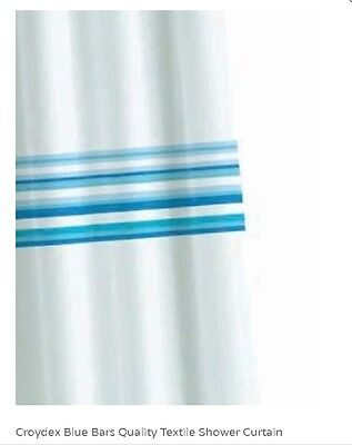 Croydex Blue Bars Quality water resistant fabric Textile Shower Curtain