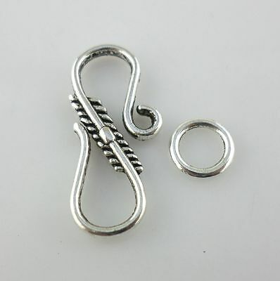 24/200pcs Antique Silver S-Hook Clasps Interface Toggle Connectors for Jewelry