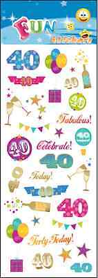 "Beautiful Fun Stickers "" 40Th Birthday "" For Cards & Craft"