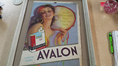 1938 Original Avalon Cigarette Sign Image of Gypsy Union Made Poster Only