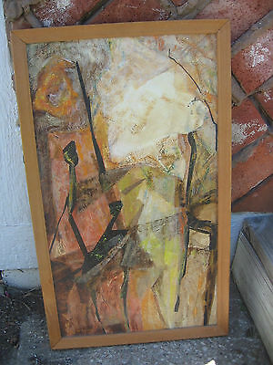VTG Mid Century Modern Abstract Painting Mixed Media Collage - N. Wheeler 1968