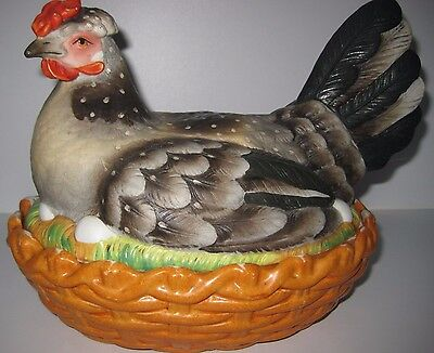 Staffordshire Pottery Covered Tureen Hen On Basket Nest Eggs 1800's