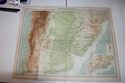 Large 1920's Map of Argentina Chile etc Times Atlas Bartholomew Folded Original
