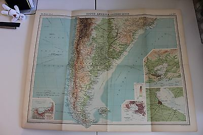 Large 1920's Map of South America Times Atlas Bartholomew Folded Original