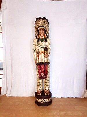 John Gallagher Carved Wooden Cigar Store Indian 6 ft.Tall very detailed