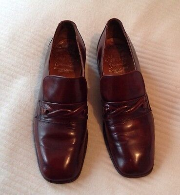 MEN'S VINTAGE 70's ANGUS WESTLEY BROWN LEATHER SLIP ON SHOES Size 7.5