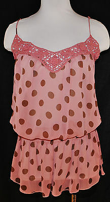 VTG 90s Pink Polka Dots Sheer Layered Spaghetti Straps Cami Shirt Blouse Top L