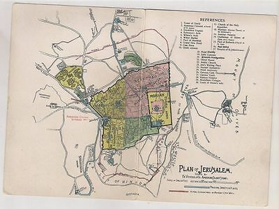 Judaica Palestine Great Old Map Plan American Colony Stores