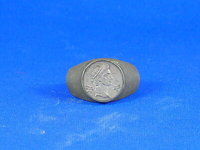 Roman style Silver Ring with a mint state imitation denarius of Augustus enactor