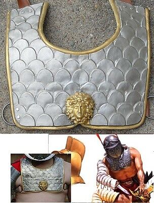One Roman Gladiator Pectoral chest plate armor armour silver gold plated bronze