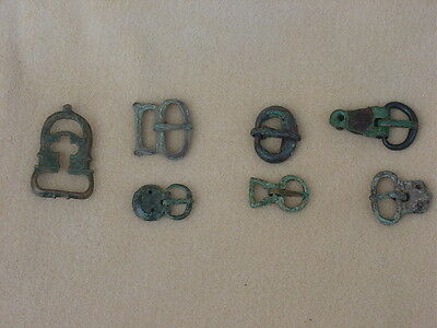 Large lot of ancient Roman bronze belt buckles & varying sizes most with tongues