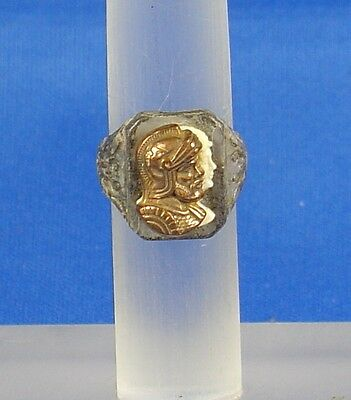 Antique plastic Roman ring with the head of Mars in a small size