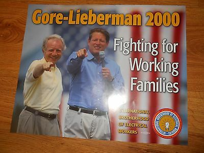 FOUR  -   GORE and LIEBERMAN Election Posters 18 x 22  IBEW