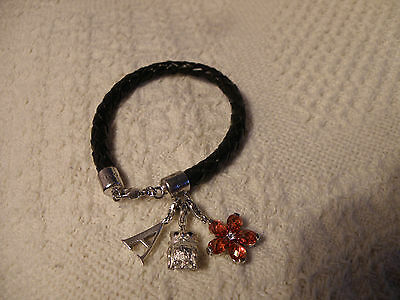 Thomas Sabo Charm Club Leather & 925 Bracelet With 3 Charms Great Gift Idea