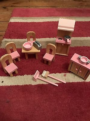 Wooden Dolls House Furniture - Pink Kitchen  Set