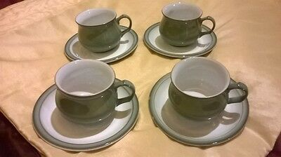 DENBY REGENCY GREEN 4 x CUPS & SAUCERS