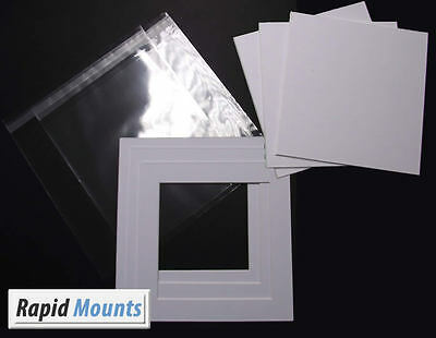 """Square Mounts + Backing and Bags- White core board. Sizes 6x6"""" - 12x12"""" kits"""
