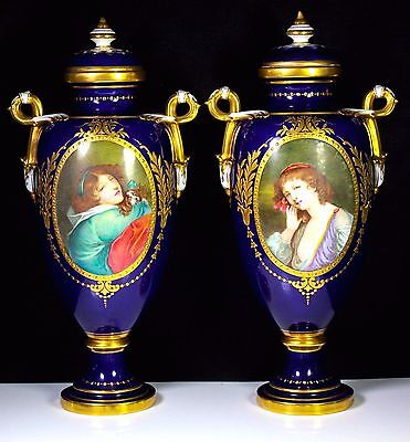 Antique Pair Minton Vase & Covers By H Boullemier King Charles Spaniel Dog 1891