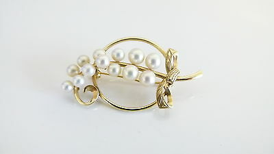 Vintage Mikimoto Pearl Brooch - 14k Yellow Gold - Boxed