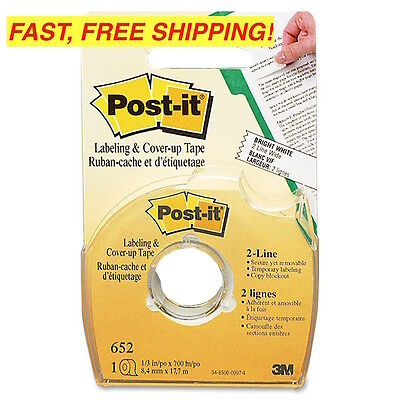 """4 PACK! POST-IT Labeling & Cover-Up TAPE, Non-Refillable, 1/3"""" X 700"""" ROLLS"""
