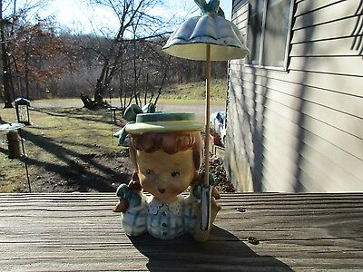 Vintage Lady Headvase Planter  Head Vase Mid Century Girl Umbrella Parasol
