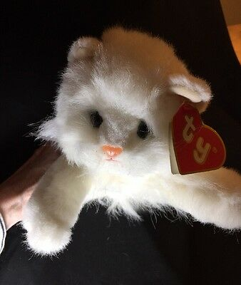 """1987 TY WHITE PERSIAN 18"""" CAT With Tag Angel Pink Ribbon Predates Beanie Babies"""