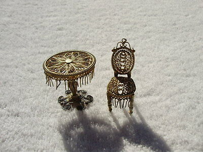 Vintage Silver ? Filigree Miniature Ornate Table & Chair with Fringe unmarked