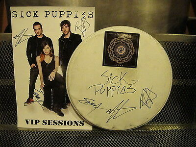 SICK PUPPIES ~ SIGNED By Band 2016 Drumhead & VIP Poster ~ Proof Documents & Pic