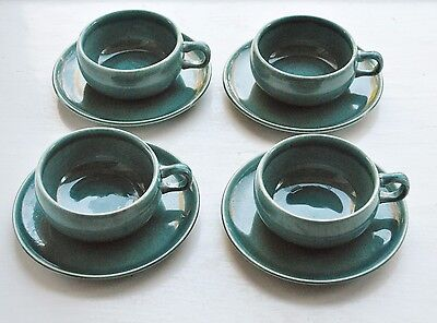 Russel Wright Seafoam Tea Cups & Saucers American Modern Set of 4 Steubenville