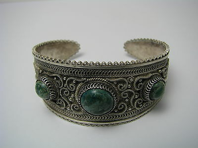 A HANDCRAFTED STERLING SILVER CUFF BRACELET EILAT STONES FILIGREE Israel ca1960s