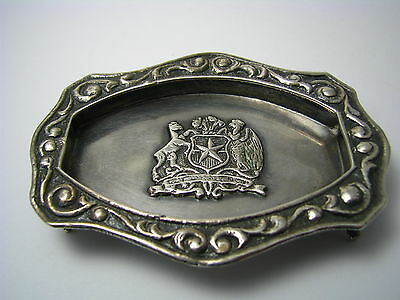 CHILEAN SOLID SILVER TRAY FOOTED ASHTRAY DISH 900 Silver Chile c1940s Excel Cond