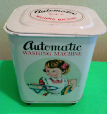 Vintage 1950's Little Miss Housekeeper Tin Metal Toy Automatic Washing Machine