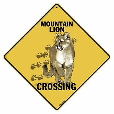 Mountain Lion Crossing Sign NEW 12X12 Metal Wildlife Cougar Puma Panther
