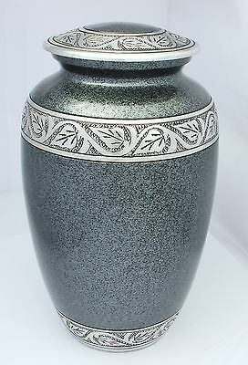 Adult Cremation Urn for Ashes Funeral Memorial Remembrance Large Grey Aluminium
