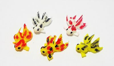 1:12 Scale 5 Chinese Goldfish For A Dolls House Miniature Garden Pond (Mixed)