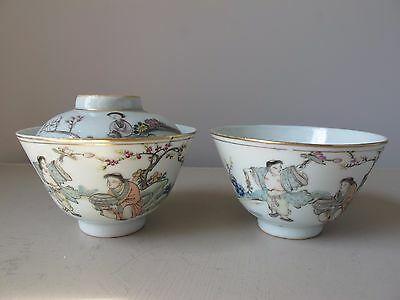 Vintage Chinese Famille Rose Rice Bowls Enameled Finely Hand Painted Figural