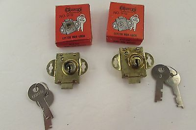 Vintage Two Letter Box Locks with Flat Keys in Original Boxes