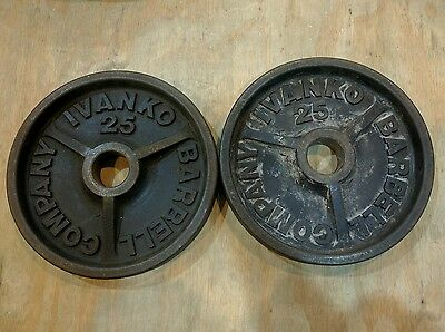"""Pair Ivanko Barbell 25 LB 2"""" Olympic Weight Plates 2x25 lbs"""