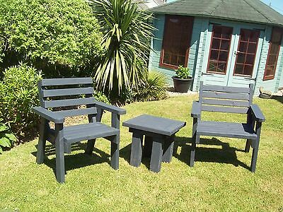 2 Solid Wood Garden / Patio Chairs + Small Garden Side Table