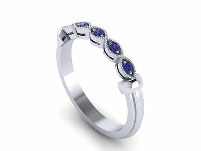 14Kt White Gold 0.50Ct Five Sapphire Gemstone Studded Vintage Engagement Ring