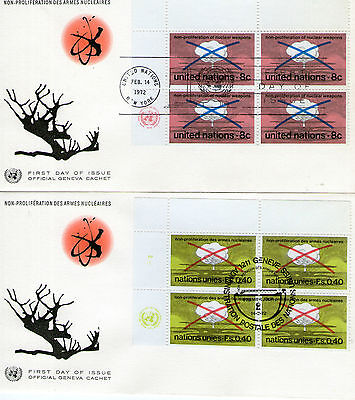 1972 United Nations Blocks of 4 Stamps On Official First Day Covers