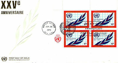1970 United Nations Block of 4 Stamps  On Official First Day Cover. Law