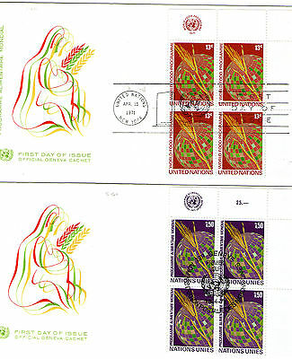 1971 United Nations  Blocks of 4 Stamp  On Official First Day Covers