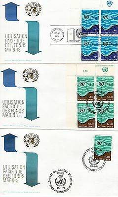 1971 United Nations  Blocks of 4 Stamps  On Official First Day Covers + a single