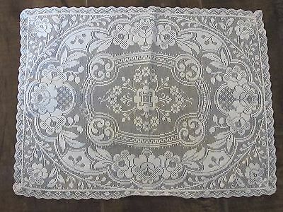 """Antique Floral Lace 9"""" x 12"""" Small Dresser Ivory White Doily"""