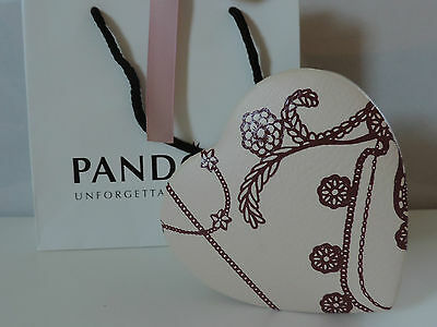 PANDORA GENUINE LEATHER HEART shaped Jewelry Box 2 compartments with Bag