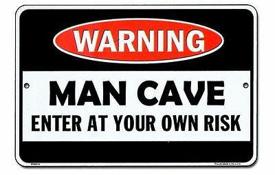 WARNING Man Cave metal Sign for fan of automobile motorcycle repair shop