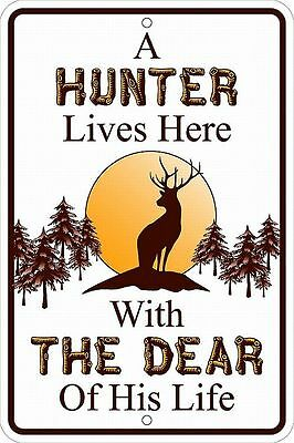 HUNTER LIVES HERE w DEAR metal sign for hunters deer BIG GAME bears rabbit elk