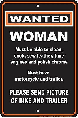 WANTED WOMAN metal Sign for fan of man cave automobile motorcycle repair shop
